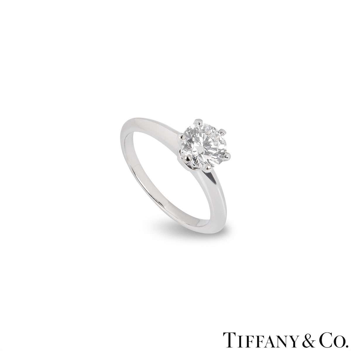 Tiffany & Co. Round Brilliant Cut Diamond Ring 0.99ct I/VVS1